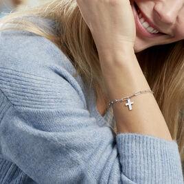 Bracelet Neala Argent Blanc - Bracelets Croix Femme | Histoire d'Or