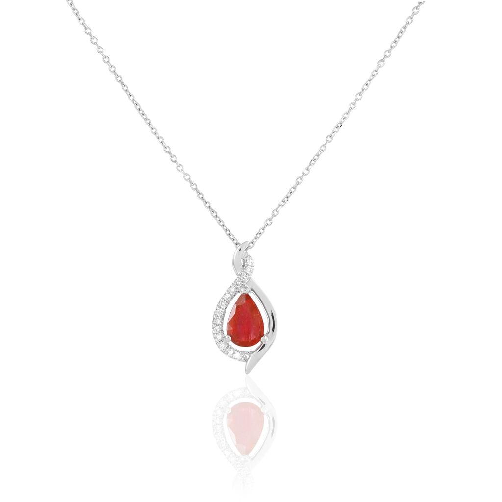 Collier Angelika Or Blanc Rubis Et Diamant - Bijoux Femme   Histoire d'Or