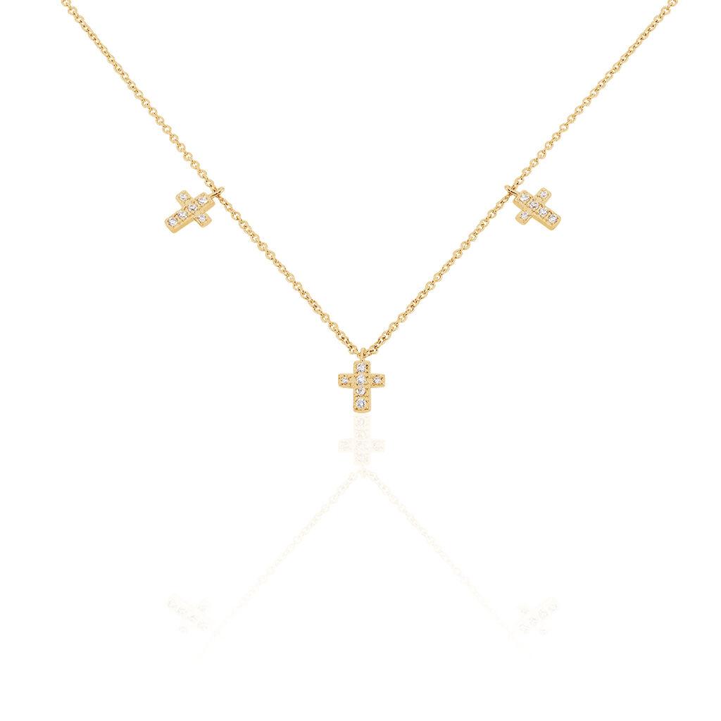 Collier Orina Plaque Or Jaune Oxyde De Zirconium - Colliers Croix Femme   Histoire d'Or