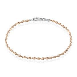 Bracelet Argent Bicolore Maille Torsade - Bracelets chaîne Femme   Histoire d'Or