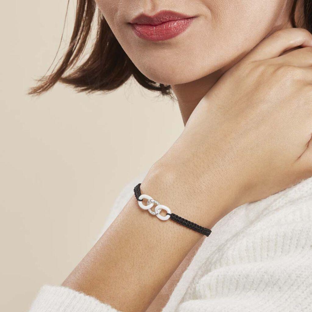 Bracelet Link Argent Blanc Oxyde De Zirconium Et Céramique - Bracelets cordon Femme | Histoire d'Or