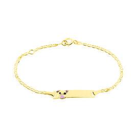 Bracelet Identité Euzebia Maille Chemin De Fer Or Jaune - Bracelets Communion Enfant | Histoire d'Or