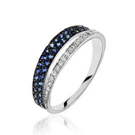 Bague Agapanthe Or Blanc Saphir Et Diamant - Bagues avec pierre Femme | Histoire d'Or