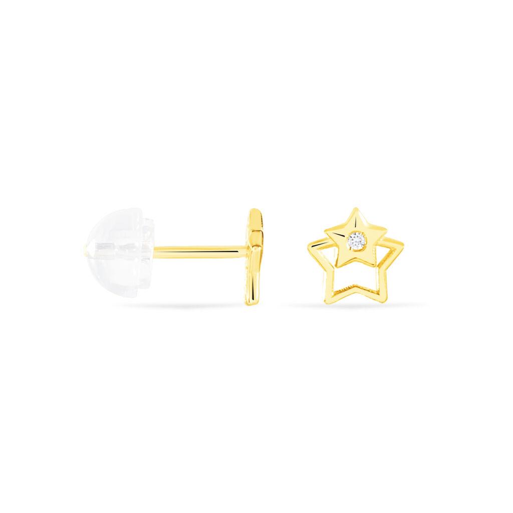 Boucles D'oreilles Puces Terentille Etoile Or Jaune Oxyde De Zirconium - Boucles d'Oreilles Etoile Enfant | Histoire d'Or