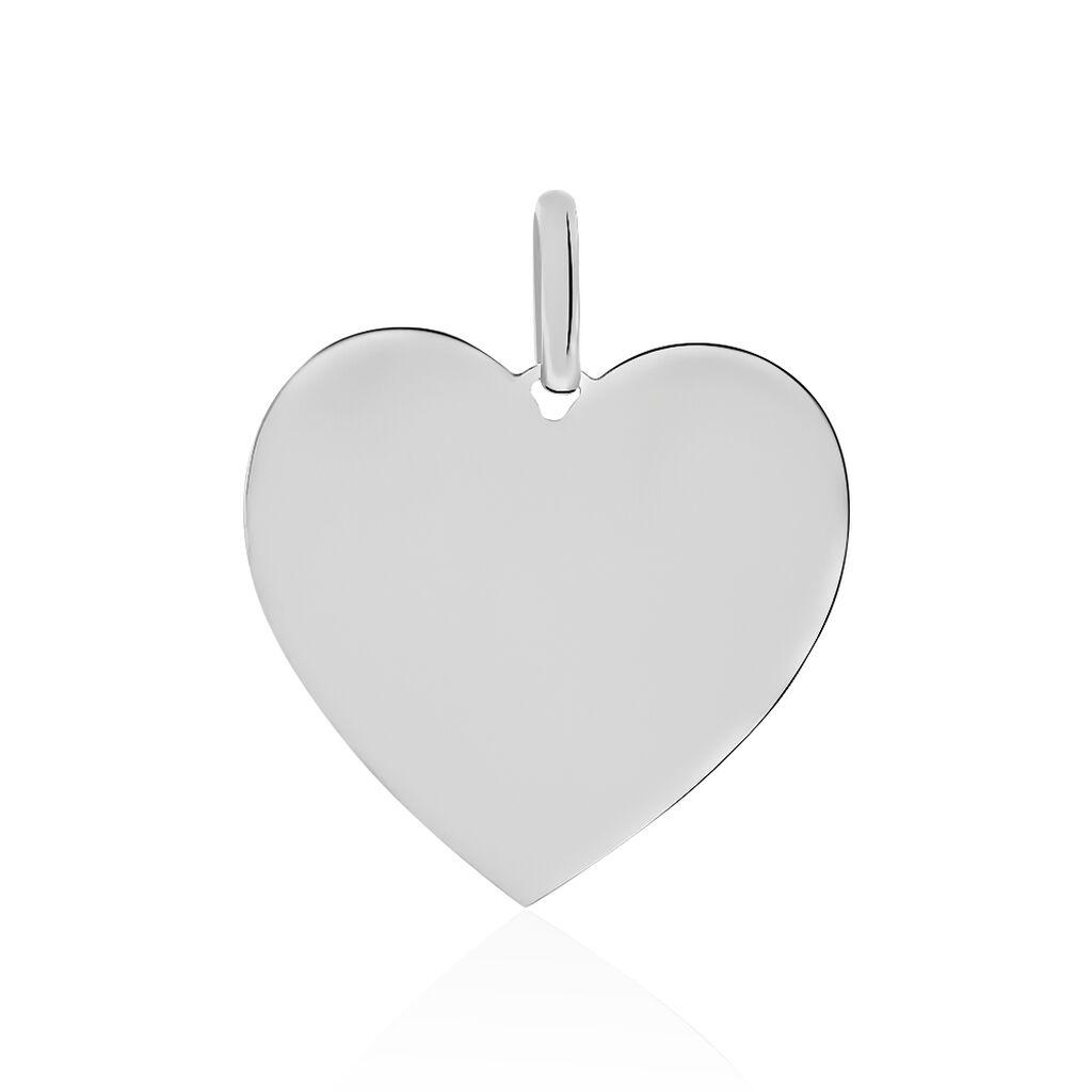 Pendentif Sirona Coeur Gravable Or Blanc - Pendentifs Coeur Femme   Histoire d'Or