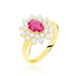 Bague Ivan Or Jaune Rubis Et Diamant - Bagues solitaires Femme   Histoire d'Or