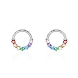 Boucles D'oreilles Puces Argent Rhodié Giustino Oxydes De Zirconium - Boucles d'oreilles fantaisie Femme | Histoire d'Or