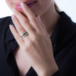 Bague Argent 3 Rang Oxyde - Bagues avec pierre Femme   Histoire d'Or