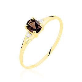Bague Hecate Or Jaune Quartz Et Oxyde De Zirconium - Bagues avec pierre Femme   Histoire d'Or