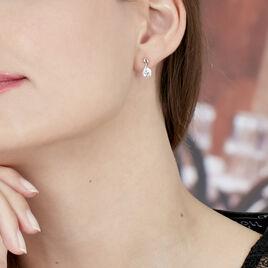 Boucles D'oreilles Pendantes Micheline Or Bicolore Oxyde De Zirconium - Boucles d'oreilles pendantes Femme | Histoire d'Or
