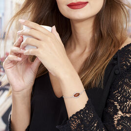 Bracelet Clarita Argent Blanc Ambre Et Oxyde De Zirconium - Bracelets fantaisie Femme | Histoire d'Or