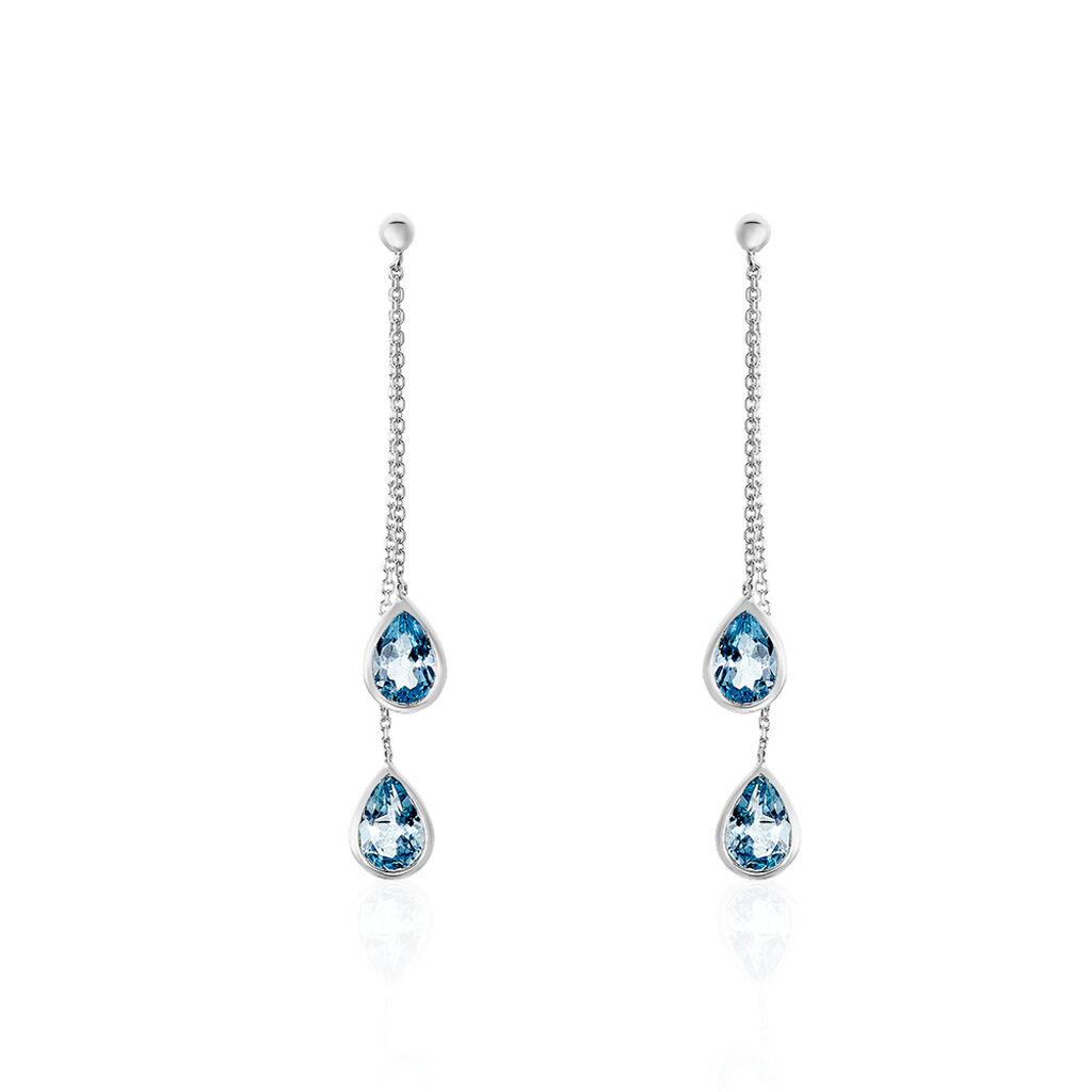 Boucles D'oreilles Pendantes Djime Or Blanc Topaze - Boucles d'oreilles pendantes Femme | Histoire d'Or