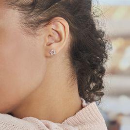 Boucles D'oreilles Puces Argent Rhodié Dwight Oxydes De Zirconium - Boucles d'Oreilles Etoile Femme | Histoire d'Or
