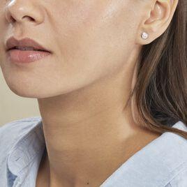 Boucles D'oreilles Puces Edmee Cercle 0 Or Rose Strass - Clous d'oreilles Femme   Histoire d'Or