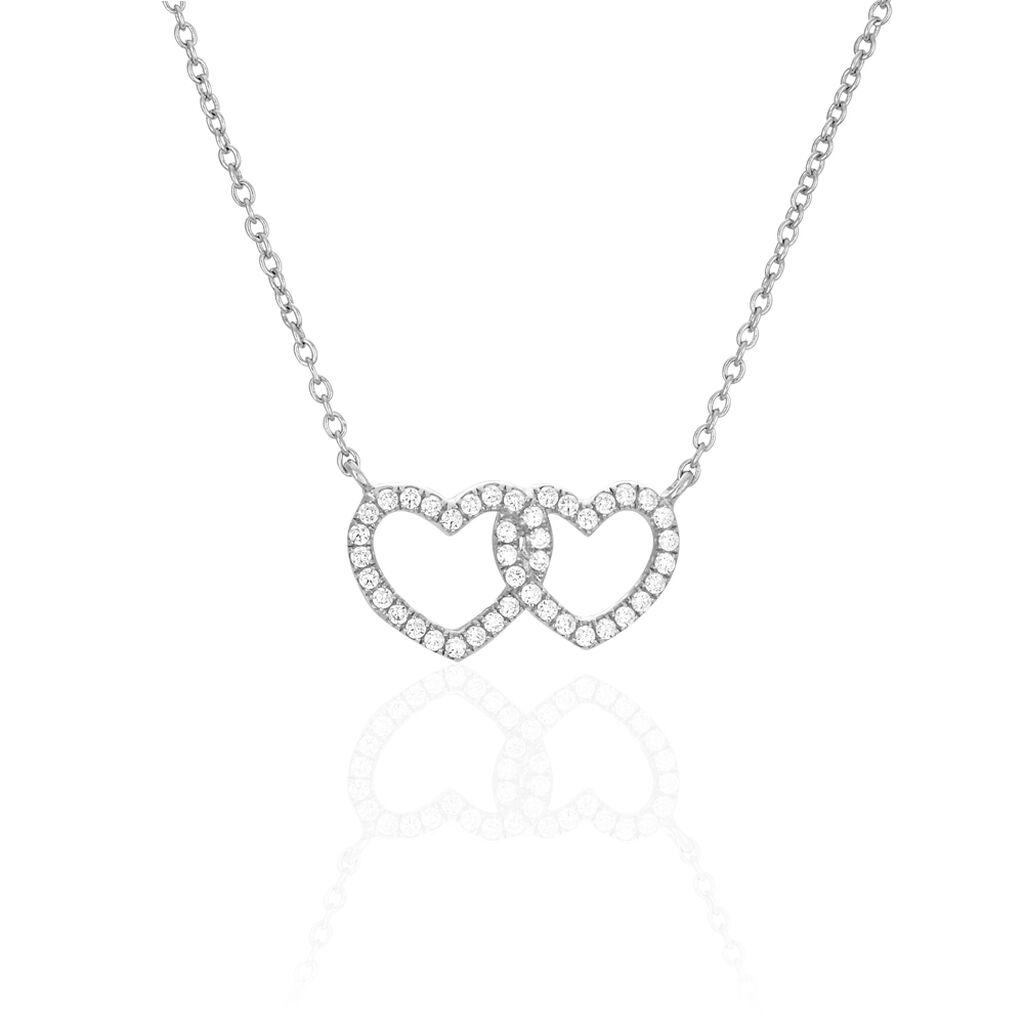 Collier Anne-ael Argent Blanc Oxyde De Zirconium - Colliers Coeur Femme   Histoire d'Or