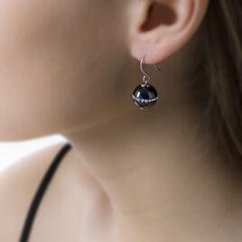 Boucles D'oreilles Pendantes Nina Cera Argent Strass Et Céramique - Boucles d'oreilles fantaisie Femme   Histoire d'Or