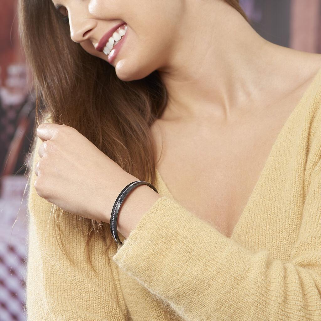 Bracelet Jonc Lola Cera Ceramique Noir Strass Et Céramique - Bracelets joncs Femme   Histoire d'Or