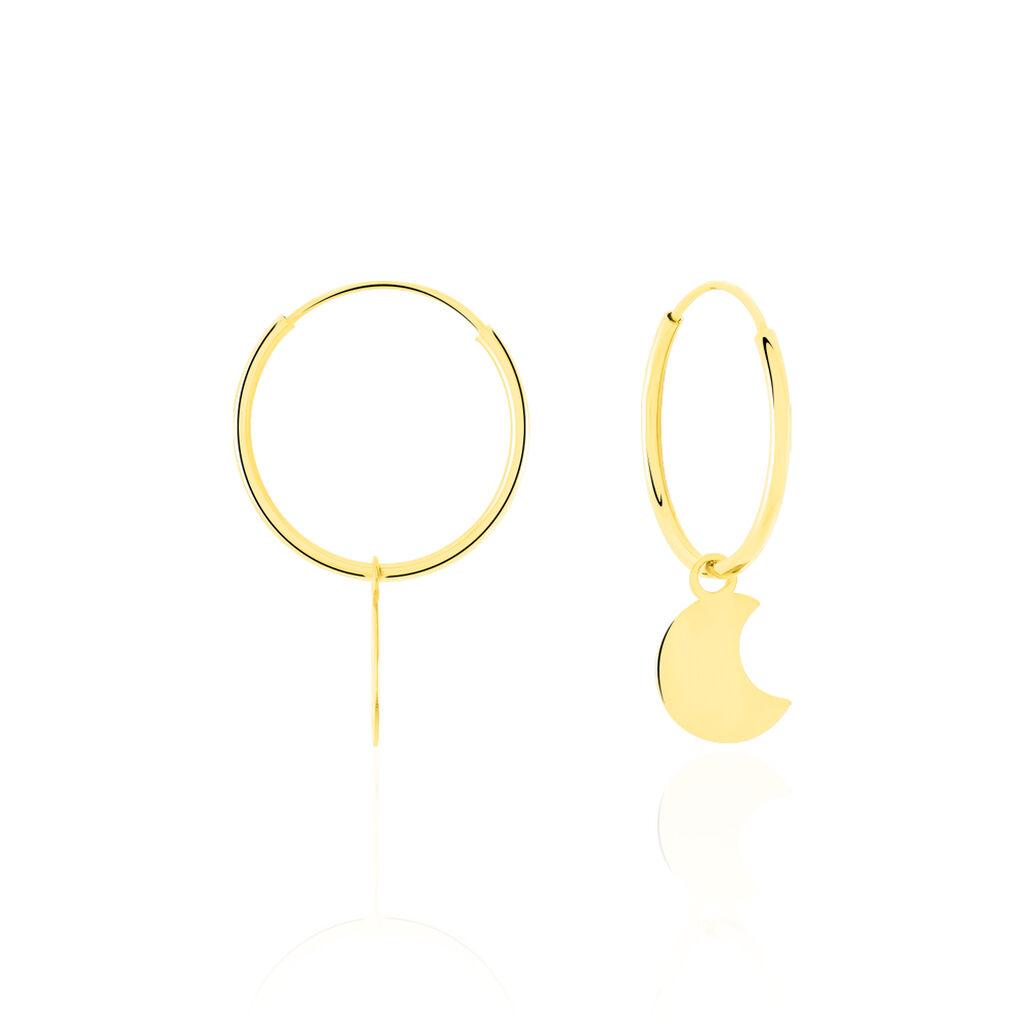 Créoles Belita Pampill Rondes Lune Or Jaune - Boucles d'Oreilles Lune Femme | Histoire d'Or
