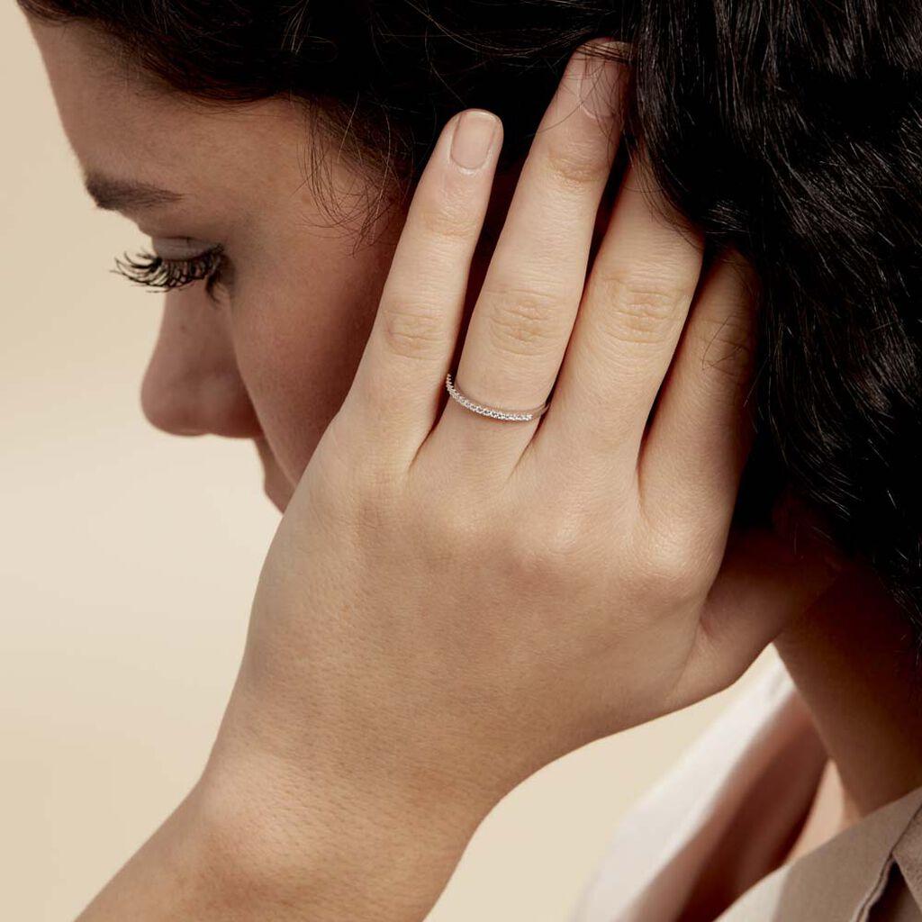 Bague Accumulation Demi Tour Argent Blanc Oxyde De Zirconium - Bagues avec pierre Femme | Histoire d'Or