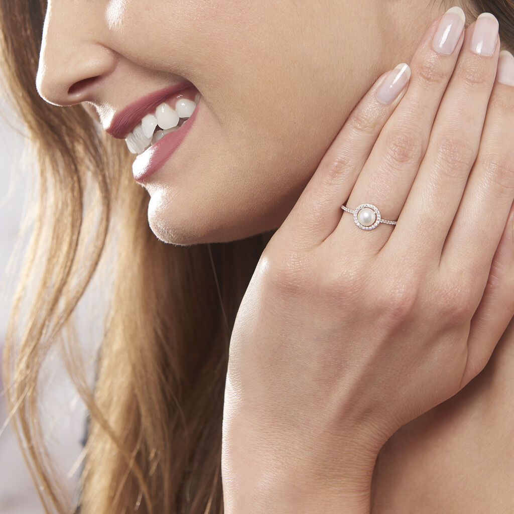 Bague Suada Argent Blanc Perle De Culture Et Oxyde De Zirconium - Bagues avec pierre Femme | Histoire d'Or