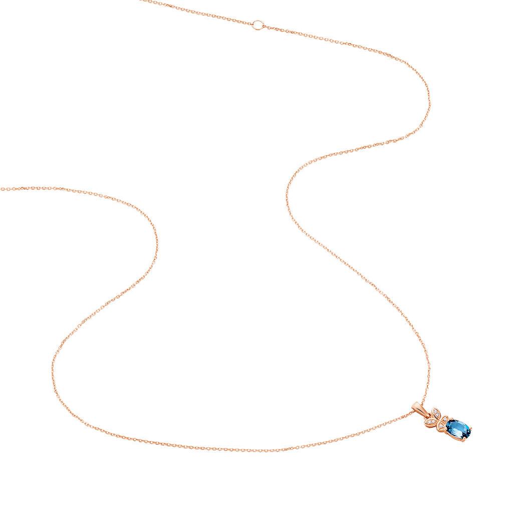 Collier Lora Or Rose Topaze Et Oxyde De Zirconium - Colliers Papillon Femme | Histoire d'Or