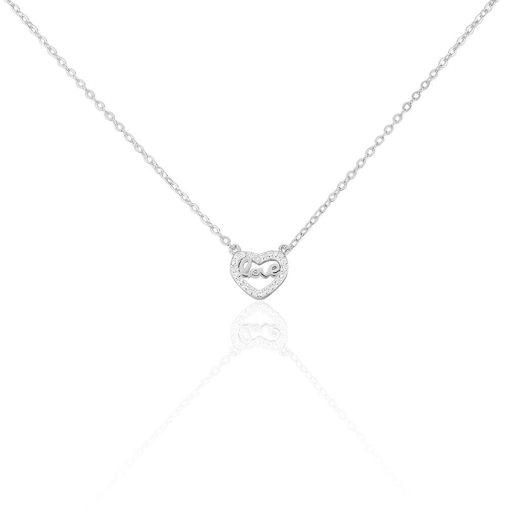 Collier Delicata Argent Blanc Oxyde De Zirconium - Colliers Coeur Femme   Histoire d'Or