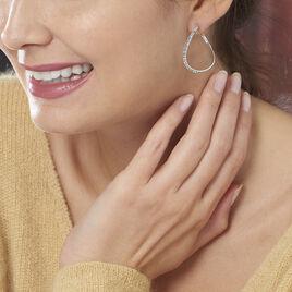 Créoles Honey Vrillees Or Blanc Strass - Boucles d'oreilles créoles Femme   Histoire d'Or