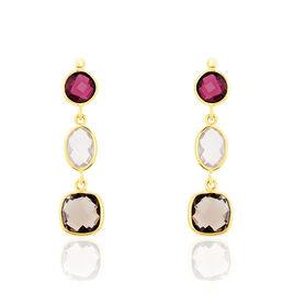 Boucles D'oreilles Pendantes Or Jaune Rhodolite Et Quartz - Boucles d'oreilles pendantes Femme | Histoire d'Or