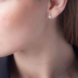 Boucles D'oreilles Puces Eolande Or Jaune Perle De Culture - Clous d'oreilles Femme | Histoire d'Or