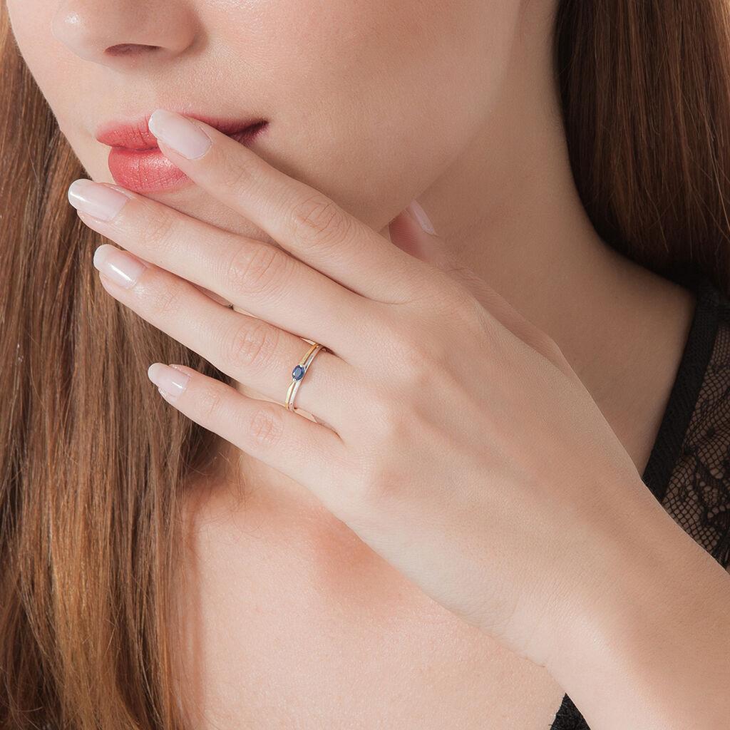 Bague Corabelle Or Bicolore Saphir - Bagues solitaires Femme | Histoire d'Or