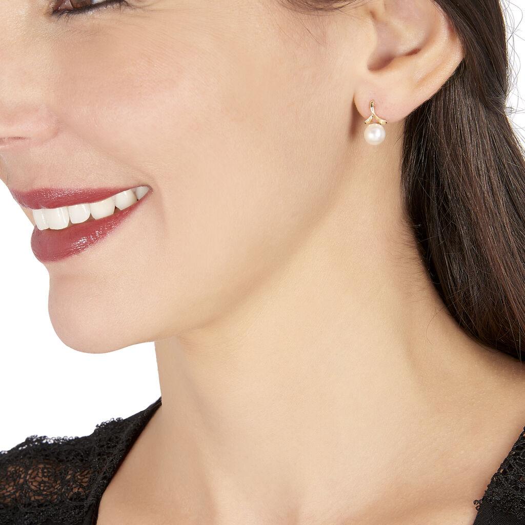 Boucles D'oreilles Pendantes Campanule Or Jaune Perle De Culture - Boucles d'oreilles pendantes Femme | Histoire d'Or