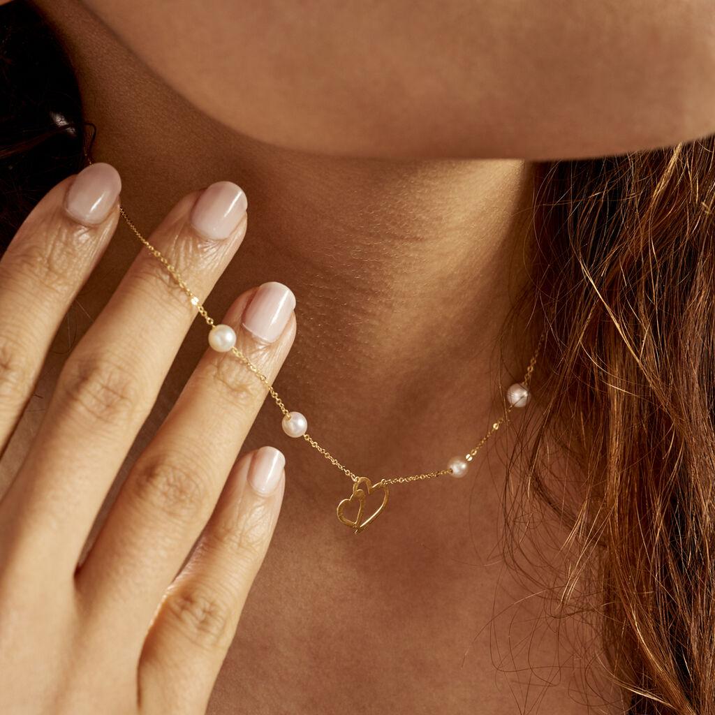 Collier Cenzo Or Jaune  Perles De Culture - Colliers Coeur Femme   Histoire d'Or