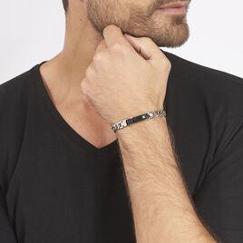 Bracelet Hugo Maille Gourmette Acier Blanc - Bracelets fantaisie Homme | Histoire d'Or
