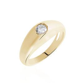 Bague Jonc Julien Plaque Or Jaune Oxyde De Zirconium - Bagues avec pierre Unisexe | Histoire d'Or