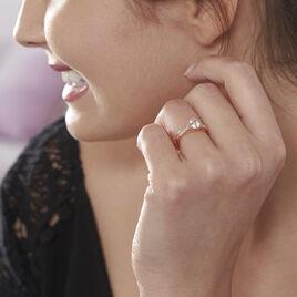 Bague Solitaire Arjuna Or Rose Oxyde De Zirconium - Bagues avec pierre Femme   Histoire d'Or