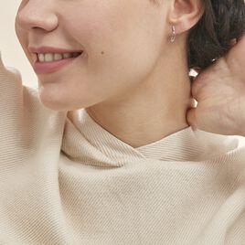 Boucles D'oreilles Pendantes Ysanna Or Blanc Oxyde De Zirconium - Boucles d'Oreilles Plume Femme | Histoire d'Or