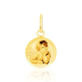 Pendentif Ange Rond Resine Or Jaune - Pendentifs Unisexe   Histoire d'Or