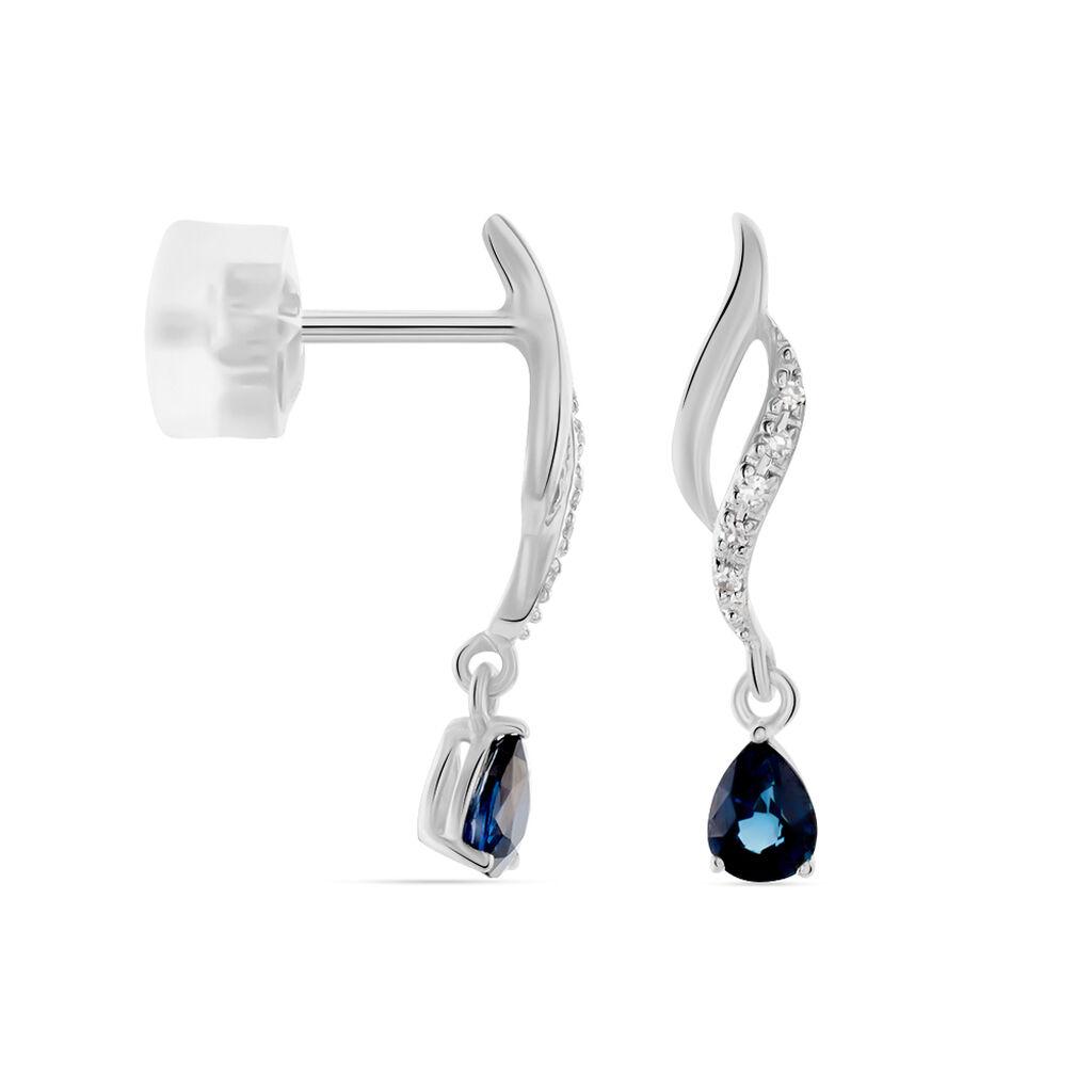 Boucles D'oreilles Puces Nolia Or Blanc Saphir Et Diamant - Boucles d'oreilles pendantes Femme | Histoire d'Or