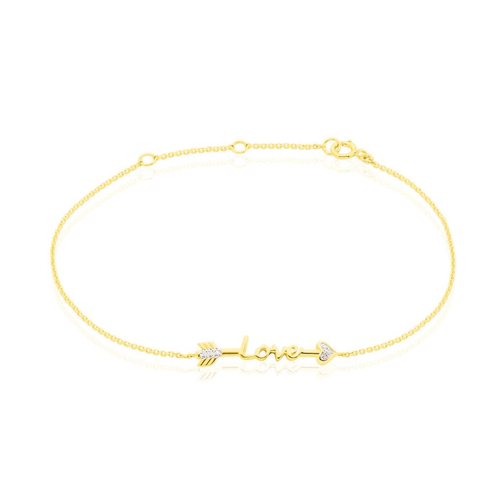 Bracelet Sawsene Or Jaune Diamant - Bijoux Femme   Histoire d'Or