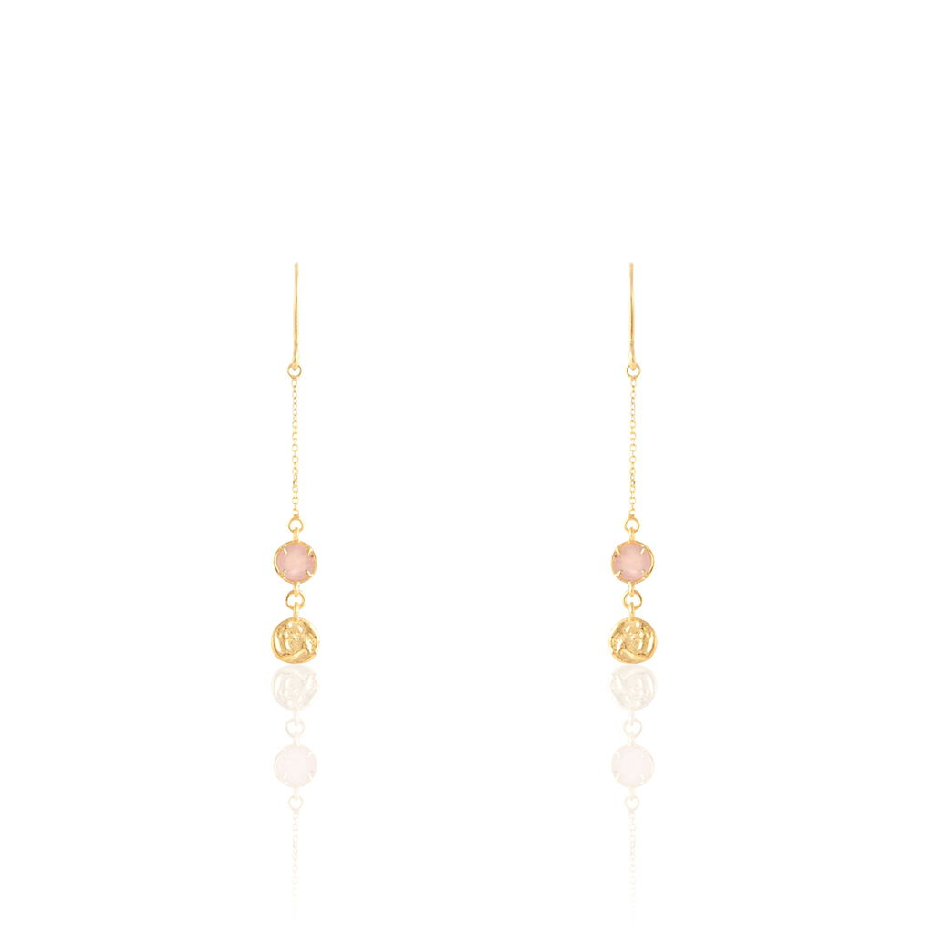 Boucles D'oreilles Pendantes Or Jaune Calcedoine - Boucles d'oreilles pendantes Femme | Histoire d'Or