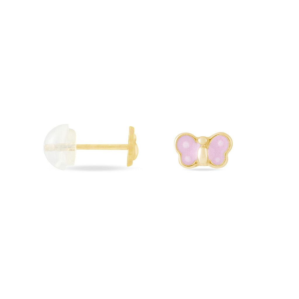 Boucles D'oreilles Puces Souline Papillon Or Jaune - Boucles d'Oreilles Papillon Enfant | Histoire d'Or
