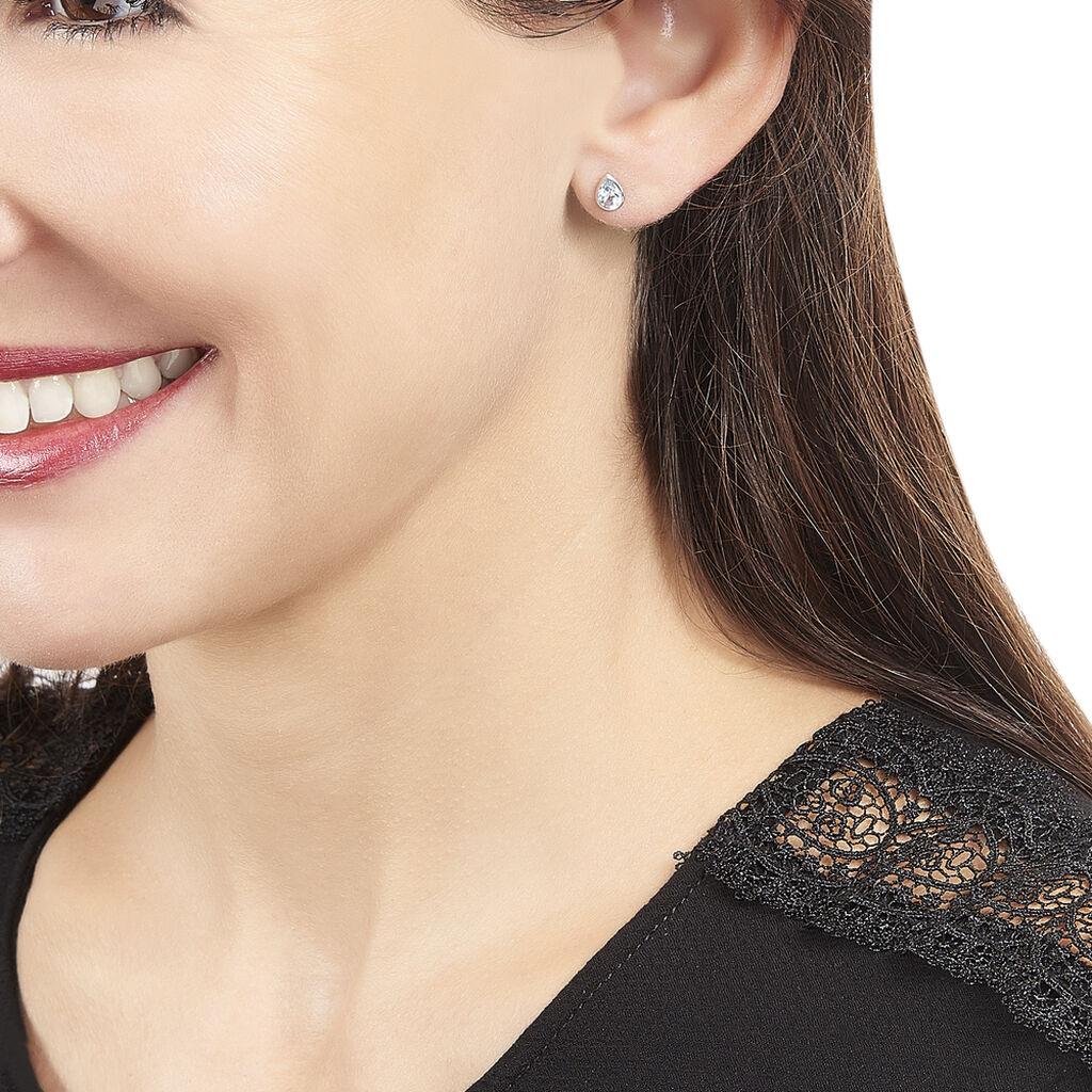 Boucles D'oreilles Puces Fassia Or Blanc Topaze - Clous d'oreilles Femme   Histoire d'Or