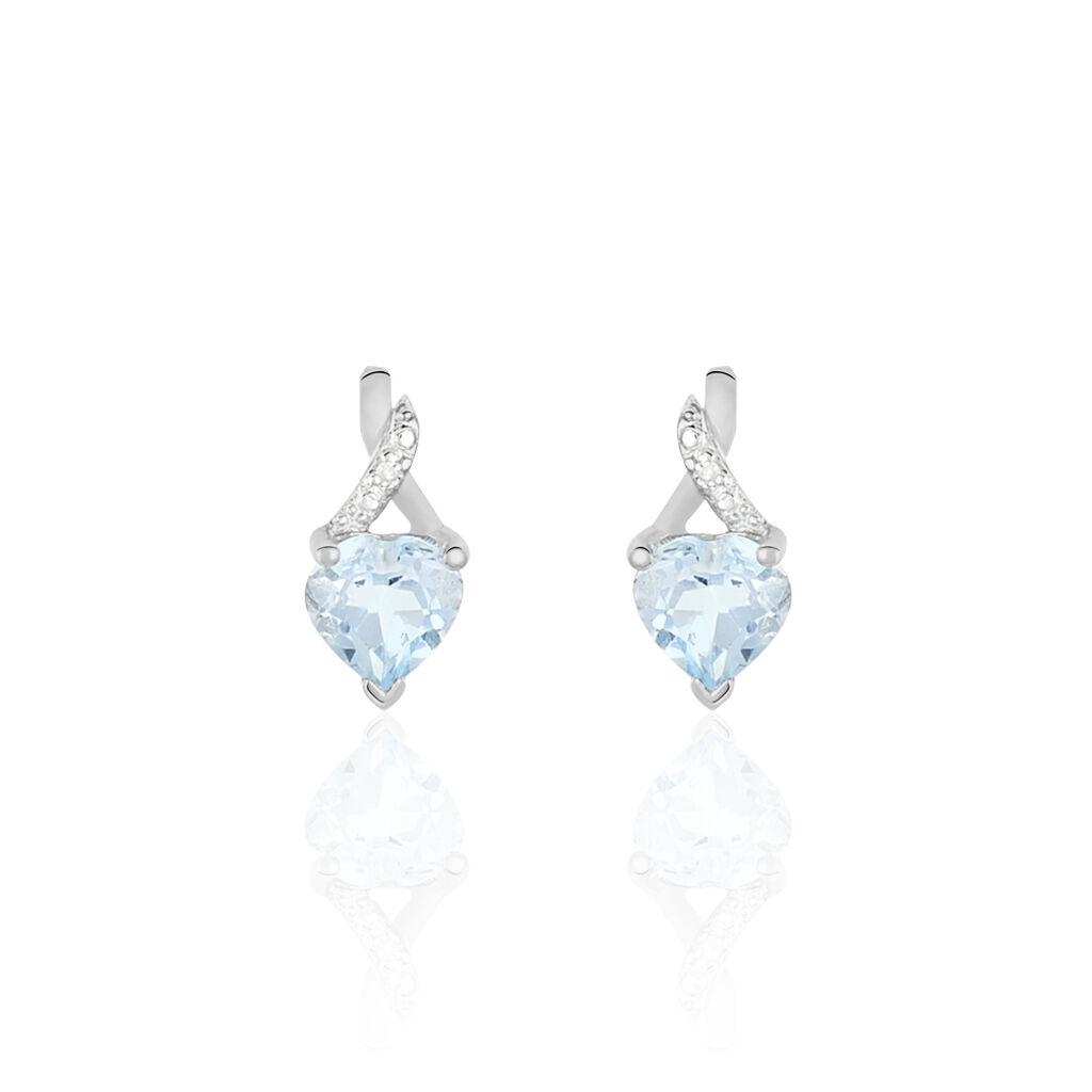 Boucles D'oreilles Pendantes Clothilde Or Blanc Topaze Et Diamant - Boucles d'Oreilles Coeur Femme | Histoire d'Or