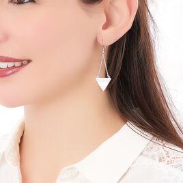 Boucles D'oreilles Pendantes Mahala Argent Blanc - Boucles d'oreilles fantaisie Femme | Histoire d'Or