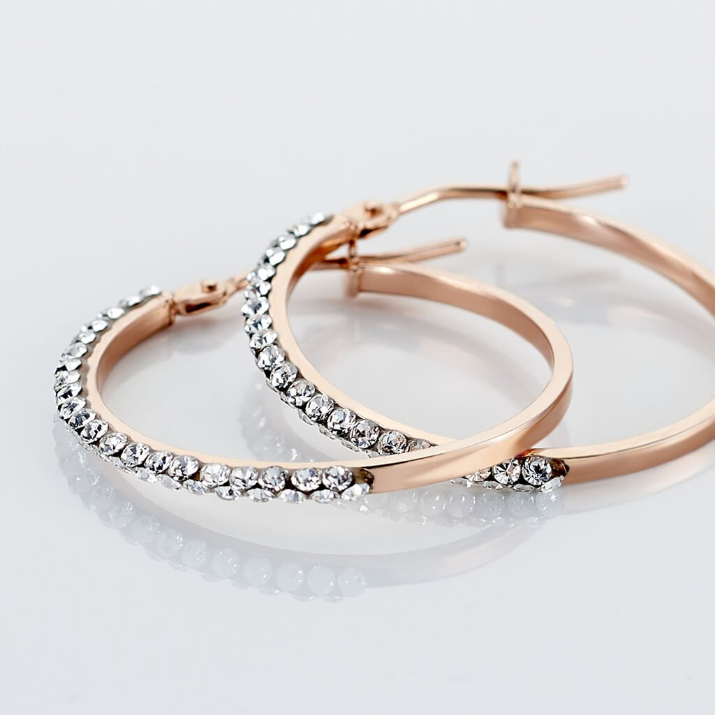 Créoles Leondine Rang Strass Rondes Or Rose Strass