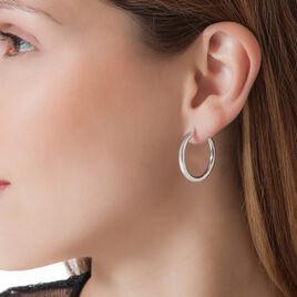 Créoles Anne Lisse Argent Blanc - Boucles d'oreilles créoles Femme | Histoire d'Or