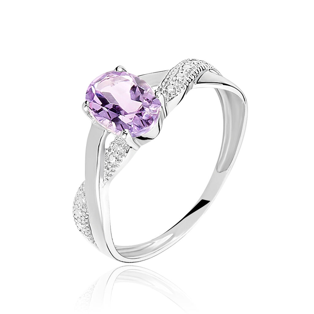 Bague Candice Or Blanc Amethyste