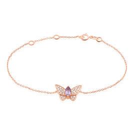 Bracelet Madina Or Rose Amethyste Et Oxyde De Zirconium - Bracelets Papillon Femme | Histoire d'Or