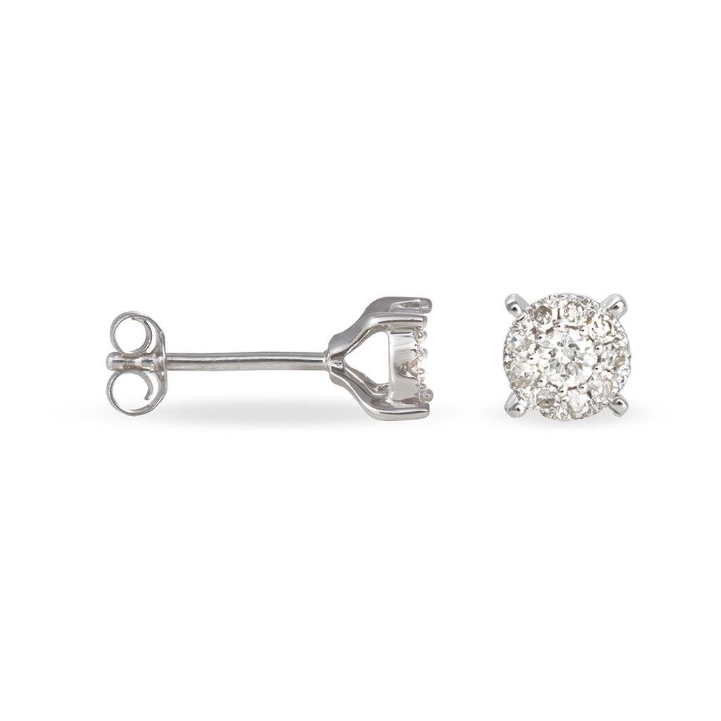 Boucles D'oreilles Puces Grace Or Blanc Diamant - Clous d'oreilles Femme   Histoire d'Or