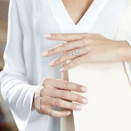 Bague Dahlia Or Blanc Topaze Oxyde De Zirconium - Bagues avec pierre Femme | Histoire d'Or